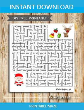 Maze: Help santa find his reindeer and presents  | Free printable for Christmas