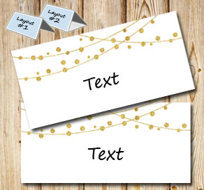 Placement cards with golden decorations  | Free printable for New Years Eve