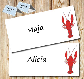 Placement card for crayfish party  | Free printable for the Crayfish party