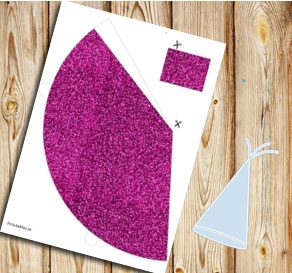 Pink glitter party hat  | Free printable for New Years Eve