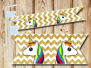 Golden chevron pattern straw decorations with unicorns  | Free printable straw decorations