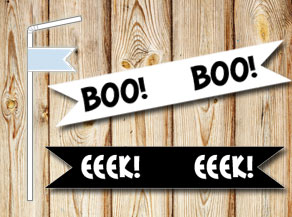 Straw decorations: BOO and EEEK  | Free printable for Halloween