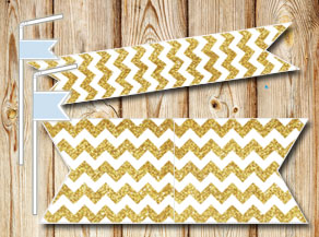 Golden chevron pattern straw decorations  | Free printable straw decorations