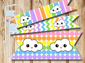 Light rainbow colored straw decorations with clouds  | Free printable straw decorations