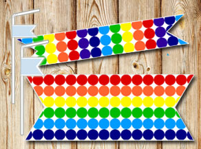 Dotted straw decoractions in rainbow colors  | Free printable straw decorations