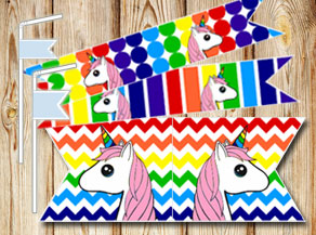 Rainbow colored straw decorations with unicorns 2  | Free printable straw decorations