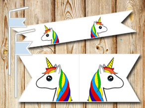 Straw decorations with unicorn  | Free printable straw decorations