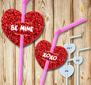 Straw decorations with red glitter hearts and text 2  | Free printable for Valentines day