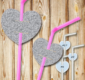 Straw decorations with silver glitter hearts  | Free printable for Valentines day