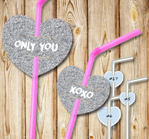 Straw decorations with silver glitter hearts and text  | Free printable for Valentines day