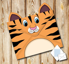 Animal envelope:Tiger  | Free printable envelopes