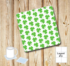 Coasters with small green shamrocks  | Free printable for St Patricks day