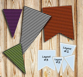 Halloween pennants with chevron pattern  | Free printable for Halloween