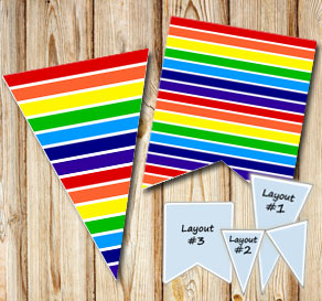 Striped pennants win  rainbow colors 2  | Free printable pennant/banner