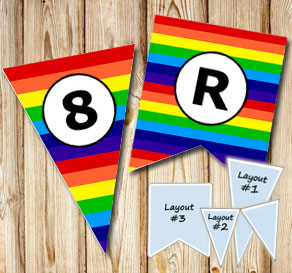 Striped pennants in rainbow colors with A - Z  | Free printable pennant/banner